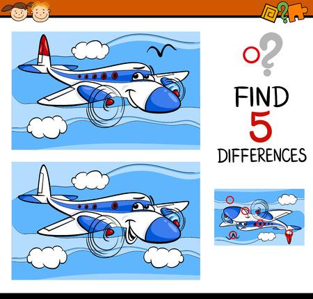 Cartoon illustrazione di trovare differenze Formazione compito per bambini in età prescolare con aereo da trasporto Character