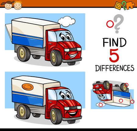 riddles: Cartoon Illustration of Finding Differences Educational Task for Preschool Children with Truck Transport Character Illustration
