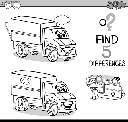 Black And White Cartoon Illustration Of Finding Differences Educational Task For Preschool Children With Truck Transport