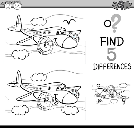 book pages: Black and White Cartoon Illustration of Finding Differences Educational Task for Preschool Children with Plane Transport Character for Coloring Book Illustration