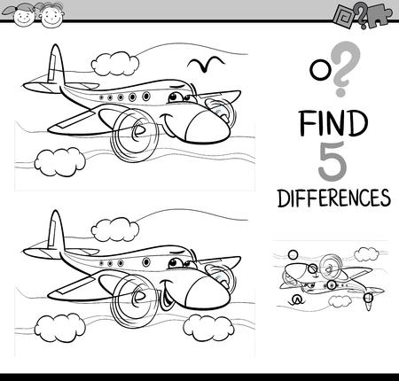 niños estudiando: Dibujos animados de blanco y negro Ilustración de encontrar diferencias para la Educación de tareas para niños en edad preescolar con el carácter del avión de transporte para colorear libro