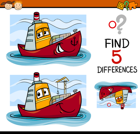 Cartoon Illustration of Finding Differences Educational Task for Preschool Children with Container Ship Transport Character