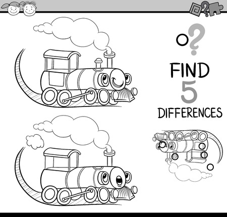 black train: Black and White Cartoon Illustration of Finding Differences Educational Task for Preschool Children with Train Engine Transport Character for Coloring Book Illustration