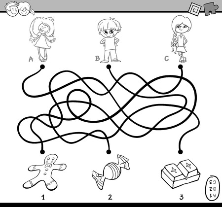 preschoolers: Black and White Cartoon Illustration of Educational Paths or Maze Puzzle Game for Preschoolers with Children and Sweets Coloring Book
