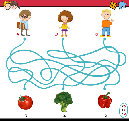 preschoolers: Cartoon Illustration of Educational Paths or Maze Puzzle Task for Preschoolers with Children and Vegetables
