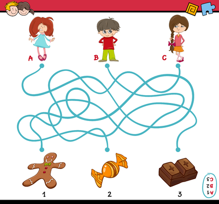 preschoolers: Cartoon Illustration of Educational Paths or Maze Puzzle Game for Preschoolers with Children and Sweets Illustration