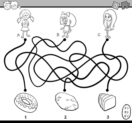 preschoolers: Black and White Cartoon Illustration of Educational Paths or Maze Puzzle Task for Preschoolers with Children and Sweets Coloring Book Illustration