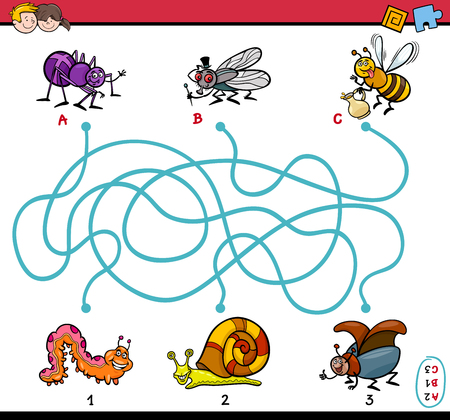 brain teaser: Cartoon Illustration of Educational Paths or Maze Puzzle Task for Preschool Children with Insect Characters Illustration