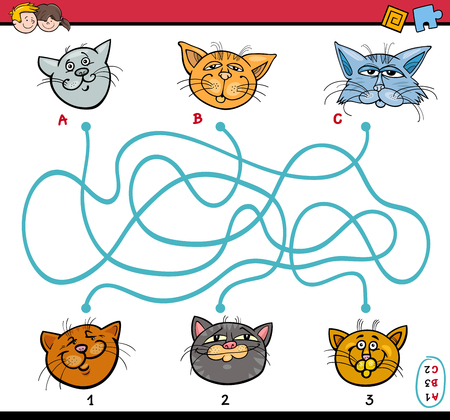 paths: Cartoon Illustration of Educational Paths or Maze Puzzle Task for Preschool Children with Cats Animal Characters