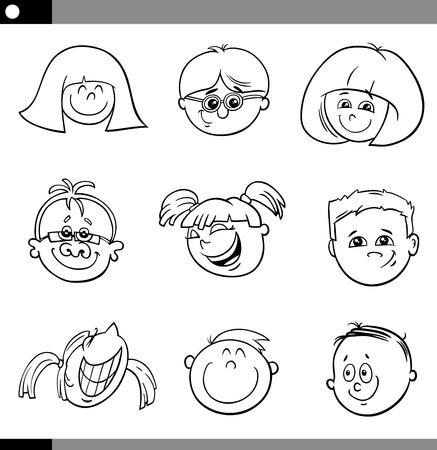 black girl: Schwarz und wei� Karikatur Illustration von niedlichen Kinder-Gesichter Set