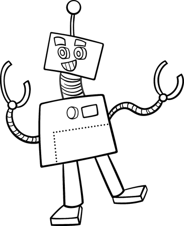 droid: Black and White Cartoon Illustration of Robot or Droid Fantasy Character for Coloring Book