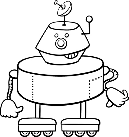 droid: Black and White Cartoon Illustration of Robot or Droid Funny Character for Coloring Book