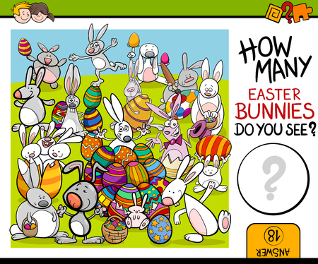 math cartoon: Cartoon Illustration of Educational Counting Task for Preschool Children with Easter Bunny Characters
