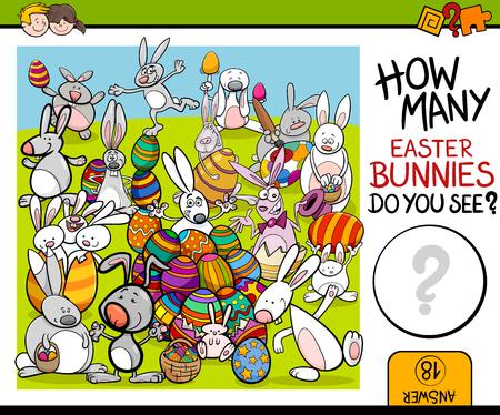 osterhase: Cartoon Illustration of Educational Zählaufgabe für Vorschulkinder mit Osterhase Charaktere