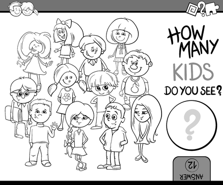 calculating: Black and White Cartoon Illustration of Educational Counting or Calculating Task for Preschool Children with Kid Characters Coloring Book