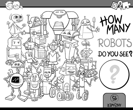 preschool children: Black and White Cartoon Illustration of Educational Counting or Calculating Task for Preschool Children with Robot Characters Coloring Book