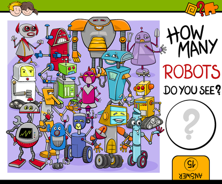 Cartoon Illustration of Educational Counting or Calculating Task for Preschool Children with Robot Characters