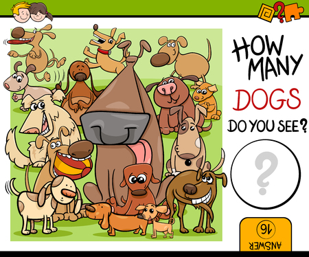 math cartoon: Cartoon Illustration of Kindergarten Educational Counting Task for Preschool Children with Dog Characters Illustration
