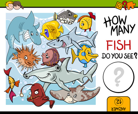 fish animal: Cartoon Illustration of Educational Counting Task for Preschool Children with Fish Animal Characters Illustration