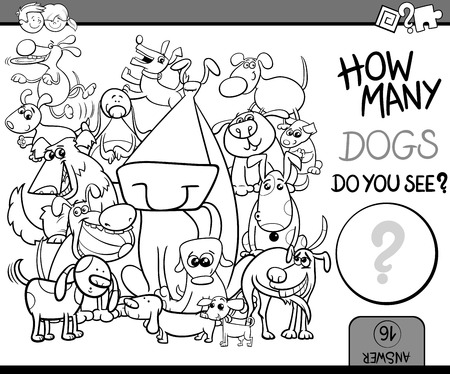 math cartoon: Black and White Cartoon Illustration of Kindergarten Educational Counting Task for Preschool Children with Dog Characters Coloring Book