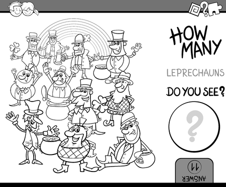 numbering: Black and White Cartoon Illustration of Educational Counting Task for Preschool Children with Leprechaun Fantasy Characters Coloring Book Illustration
