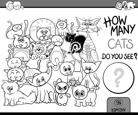 many: Black and White Cartoon Illustration of Educational Counting Task for Preschool Children with Cats Animal Characters Coloring Book