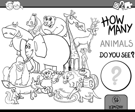 wildlife: Black and White Cartoon Illustration of Educational Counting Task for Preschool Children with Wildlife Animal Characters Coloring Book Illustration