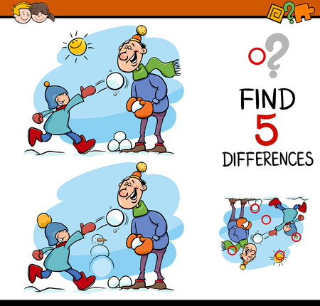 Cartoon Illustration of Finding Differences Educational Task for Preschool Children with Family on Winter Time