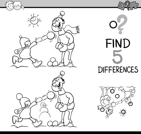 family fun: Black and White Cartoon Illustration of Finding Differences Educational Task for Preschool Children with Father and Son on Winter Time for Coloring Book Illustration