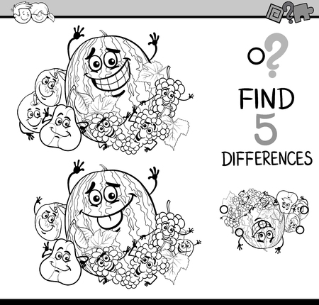 preschool children: Black and White Cartoon Illustration of Finding Differences Educational Task for Preschool Children with Fruit Characters for Coloring Book