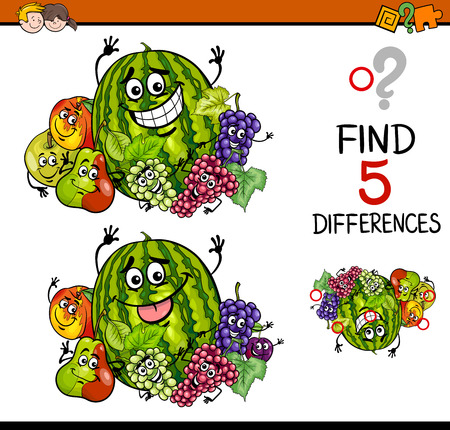 seeking solution: Cartoon Illustration of Finding Differences Educational Task for Preschool Children with Fruit Characters Illustration