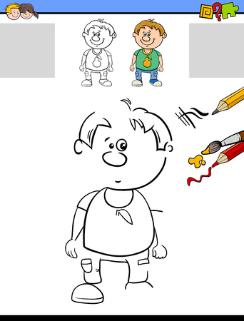 boy kid: Cartoon Illustration of Drawing and Coloring Educational Task for Preschool Children with Kid Boy Character