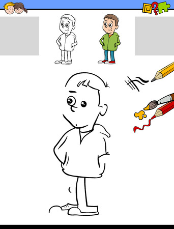 task: Cartoon Illustration of Drawing and Coloring Educational Task for Preschool Children with Cute Boy Character