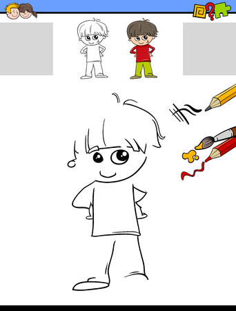 preschool children: Cartoon Illustration of Drawing and Coloring Educational Activity for Preschool Children with Cute Boy Character Illustration