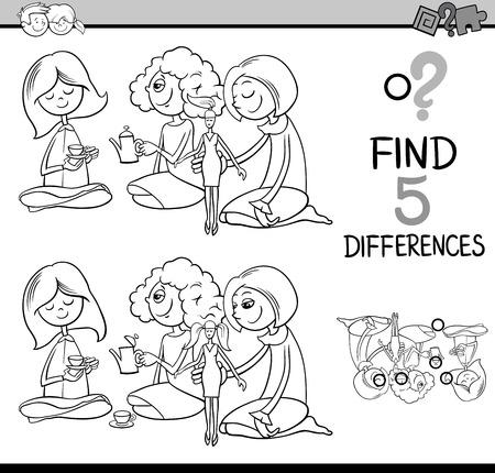 niños negros: Dibujos animados de blanco y negro Ilustración de encontrar diferencias actividad educativa para niños en edad preescolar con las niñas jugar a las casitas para colorear libro