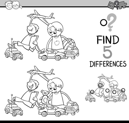 black boys: Black and White Cartoon Illustration of Finding Differences Educational Activity for Preschool Children with Boys Playing Cars and Plane for Coloring Book Illustration