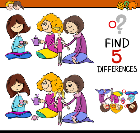 finding: Cartoon Illustration of Finding Differences Educational Activity for Preschool Children with Girls Playing House Illustration