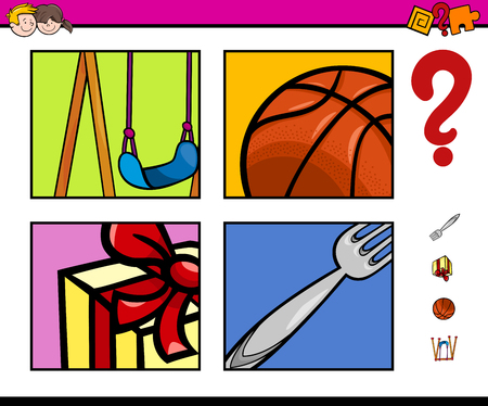 riddles: Cartoon Illustration of Educational Activity Task for Preschool Children with Objects