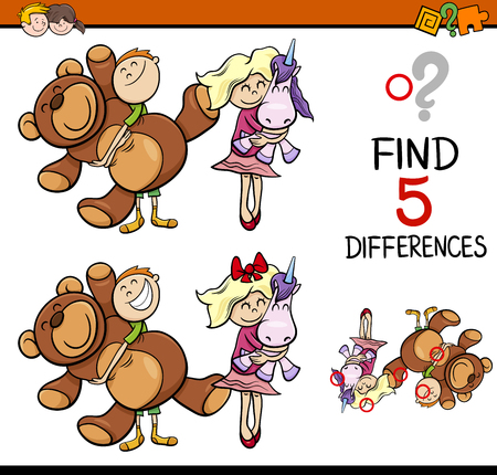 Cartoon Illustration of Finding Differences Educational Activity for Preschool Children with Kids and Toys