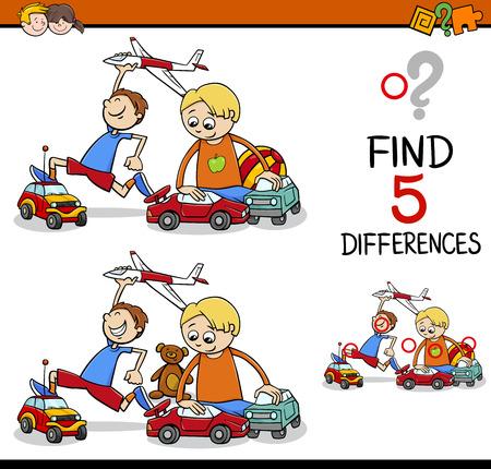 Cartoon illustrazione di trovare differenze Formazione di attività per bambini in età prescolare con ragazzi che giocano Auto e aereo