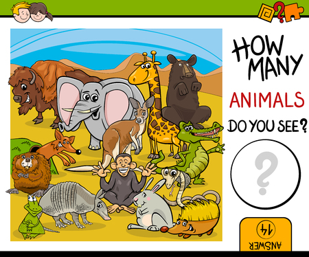 numbering: Cartoon Illustration of Educational Counting Activity for Preschool Children with Wildlife Animal Characters