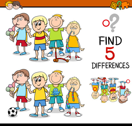 finding: Cartoon Illustration of Finding Differences Educational Activity for Preschool Children with Little Boys Group