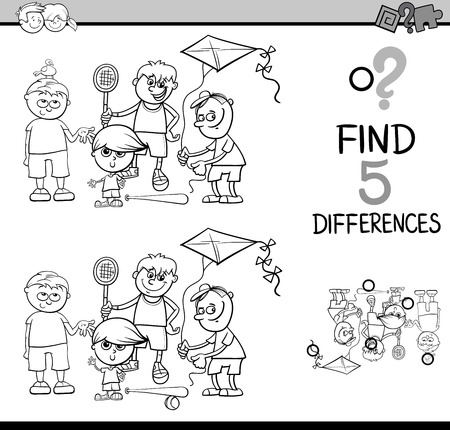 riddles: Black and White Cartoon Illustration of Finding Differences Educational Activity for Preschool Children with Boys Group and Plane for Coloring Book
