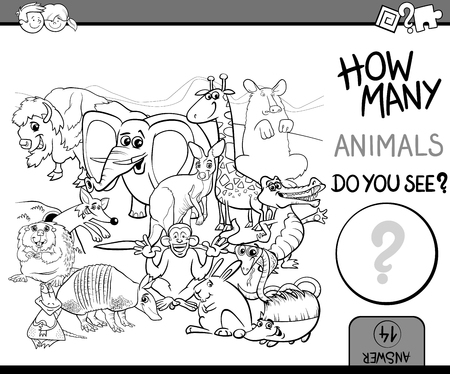 Black and White Cartoon Illustration of Educational Counting Activity for Preschool Children with Wildlife Animal Characters Coloring Book