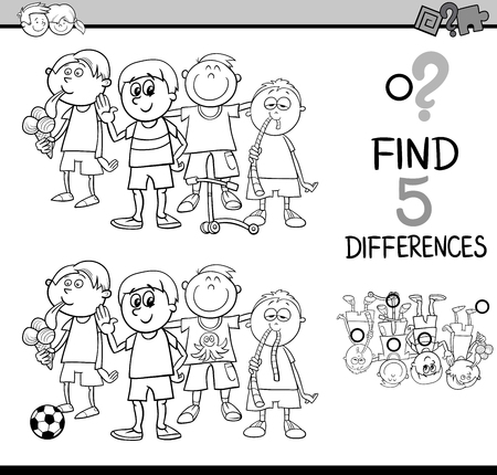 black boys: Black and White Cartoon Illustration of Finding Differences Educational Activity for Preschool Children with Little Boys Group for Coloring Book