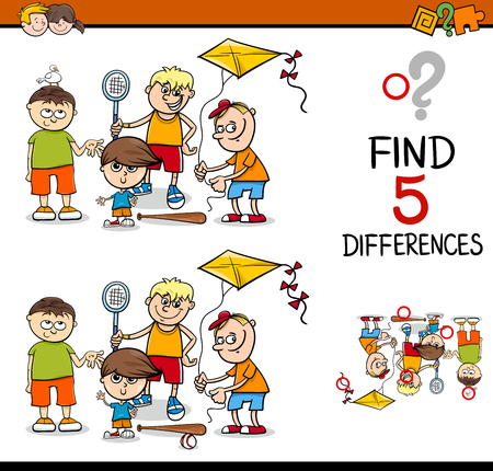 Cartoon Illustration of Finding Differences Educational Activity for Preschool Children with Boys Group