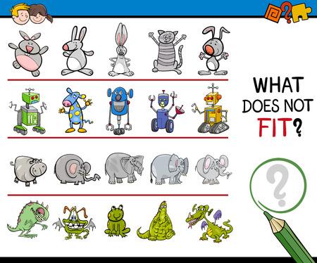 improper: Cartoon Illustration of Finding Improper Item in the Row Educational Activity for Preschool Children