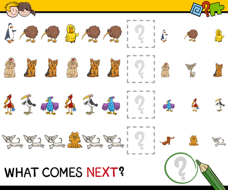 completing: Cartoon Illustration of Completing the Pattern Educational Activity for Preschool Children