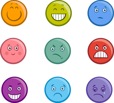 sneer: Cartoon Illustration of Emoticon or Emotions like Sad or Happy