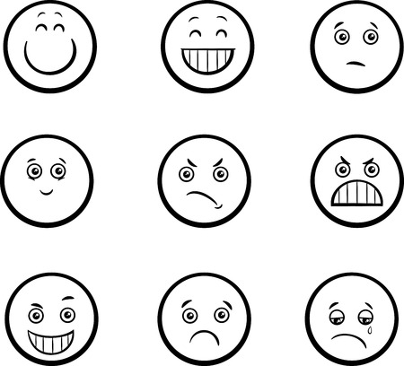 Black and White Cartoon Illustration of Emoticon or Emotions like Sad or Happy